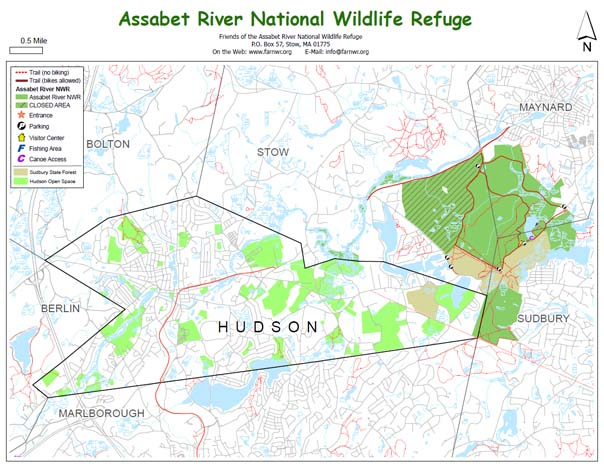 Map of the trails in the Assabet River NWR and trails in nearby Hudson conservation land