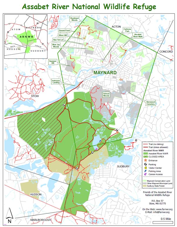 Map of the trails in the Assabet River NWR and trails in nearby Maynard conservation land