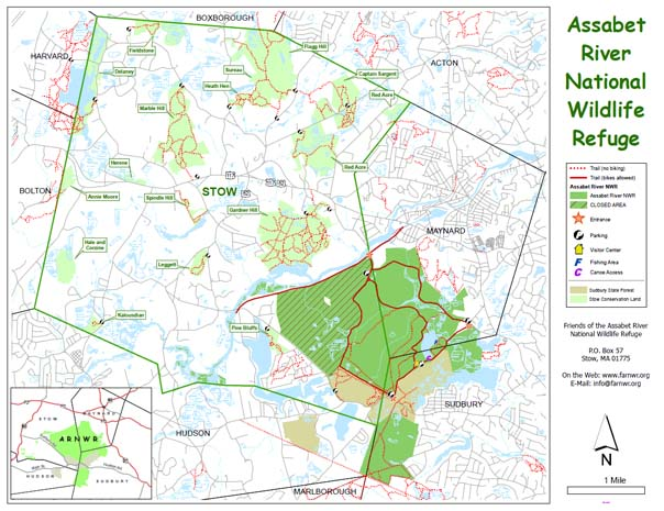 Map of the trails in the Assabet River NWR and trails in nearby Stow Conservation Trust land